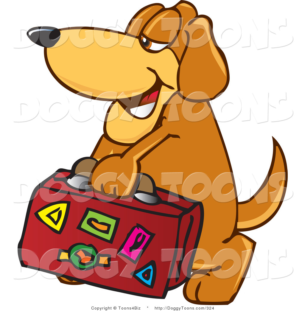 Doggy Clipart of a Tired Brown Dog Mascot Cartoon Character.