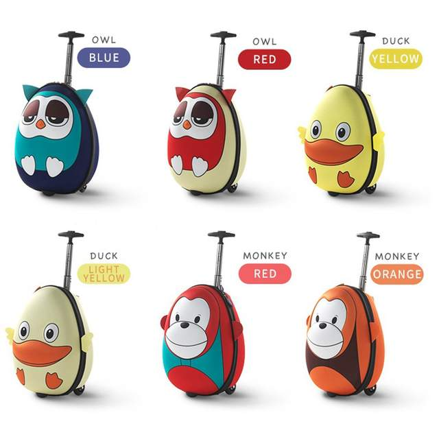 i baby 3D Animal Design Kids Luggage Rolling Toddler Travel.