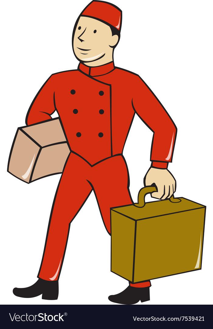 Bellboy Bellhop Carry Luggage Cartoon.