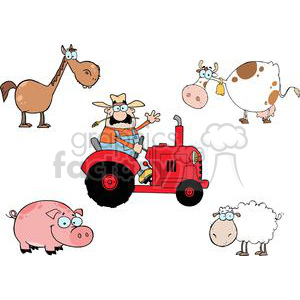 Farm Animals Cartoon Characters Set clipart. Royalty.
