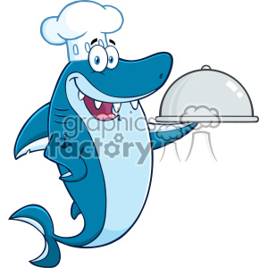 Clipart Chef Blue Shark Cartoon Holding A Platter Vector clipart.  Royalty.