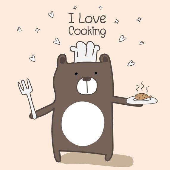 Cute Bear Chef Is Cooking Clipart, Bear Clipart, Clipart.