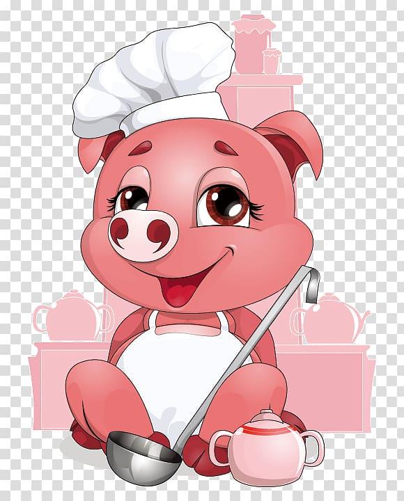 Pink pig chef illustration, Domestic pig Chef, Chef Pig.
