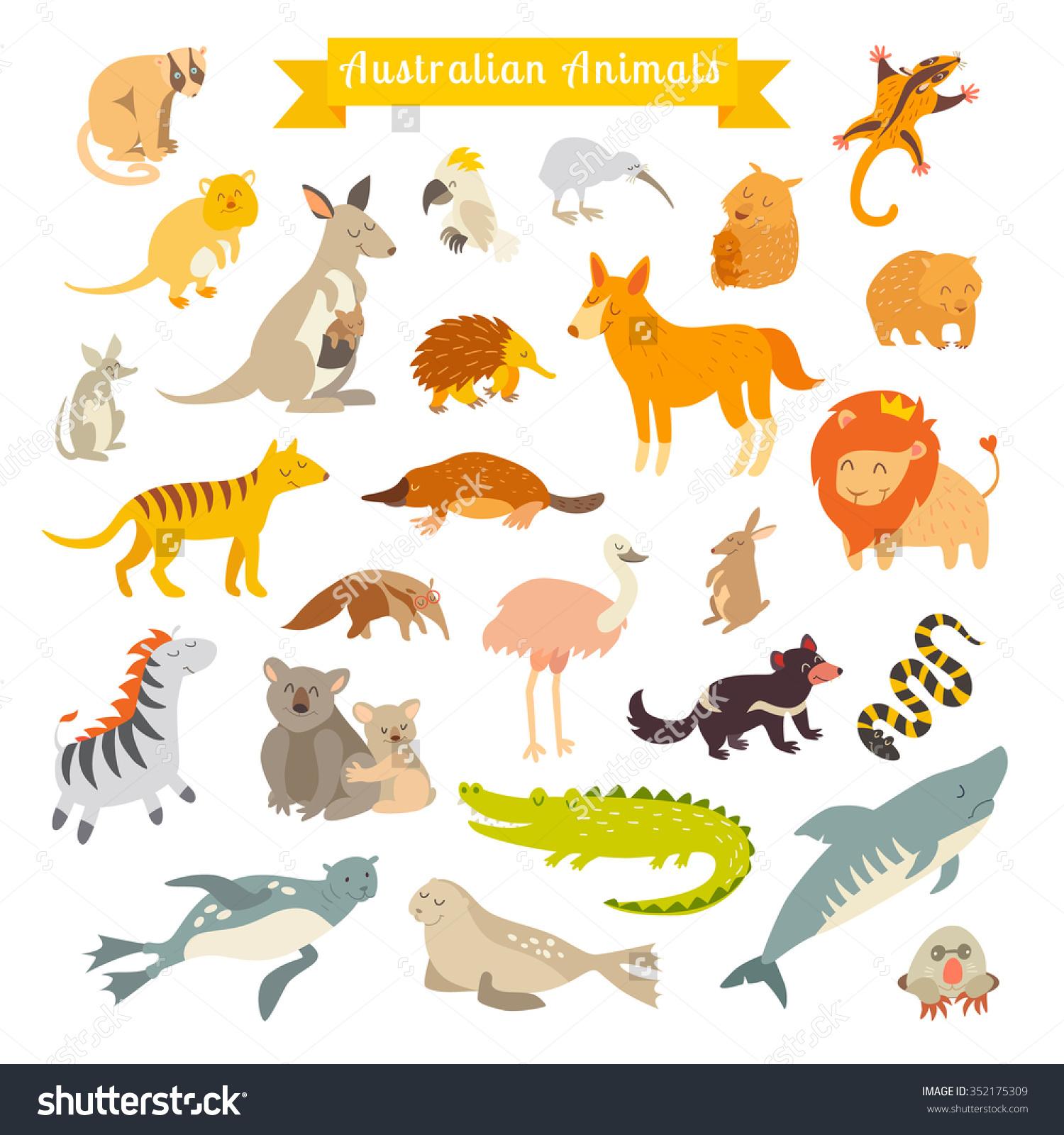 Animals World Australia Australian Animals Children Stock Vector.