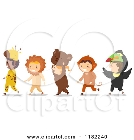 Cartoon of a Line of Children in Animal Costumes.