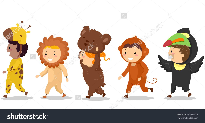Illustration Little Kids Their Animal Costumes Stock Vector.