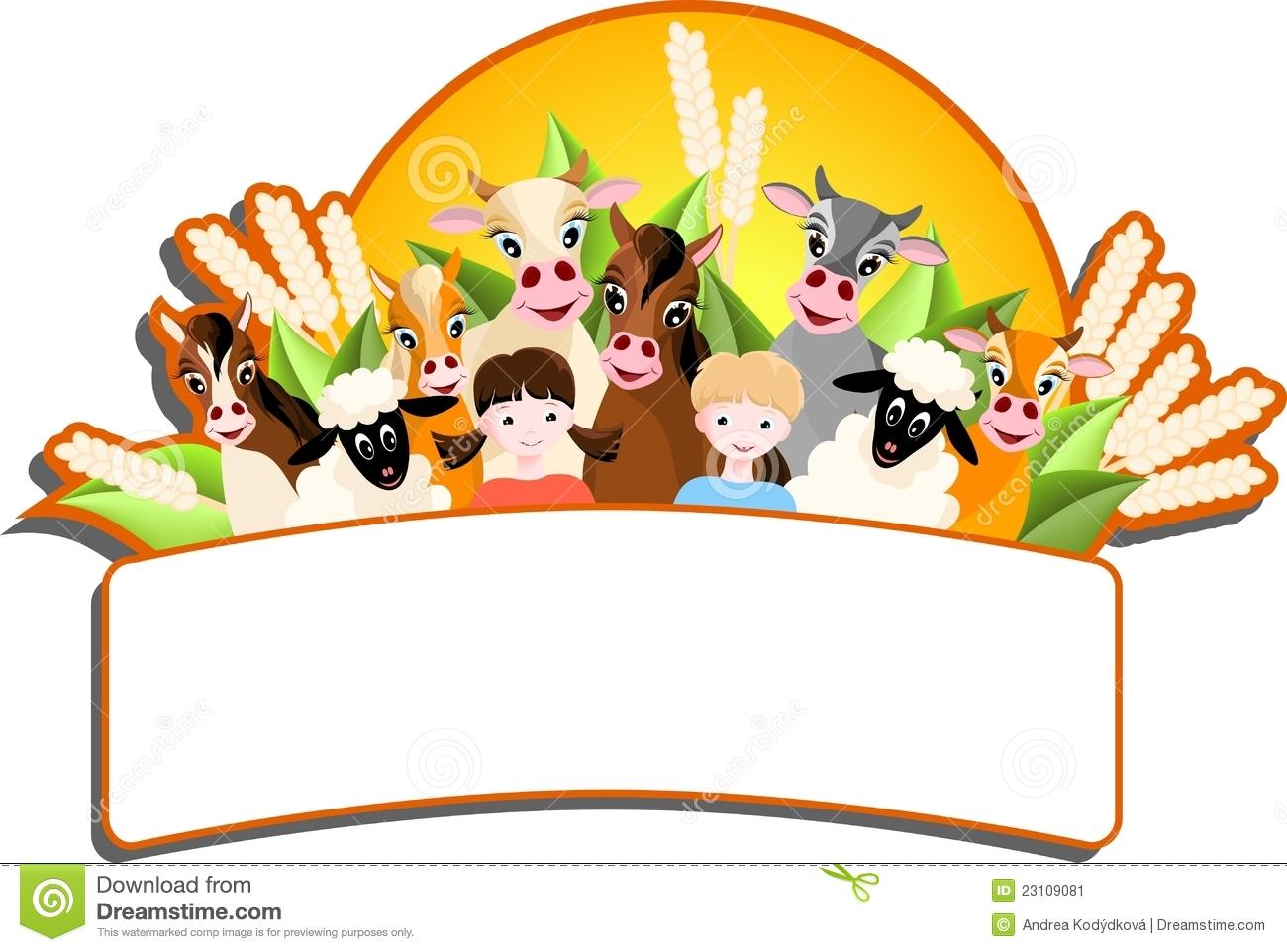 Animal farm childrens clipart.