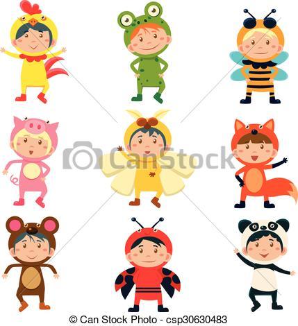 Vector of Cute Kids Wearing Animal Costumes.