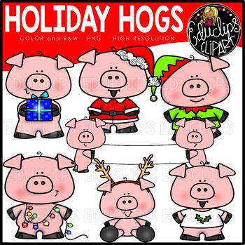 Holiday Hogs Clip Art Mini Set {Educlips Clipart}.