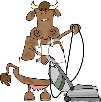 Cartoon Clipart Picture Of A Cow Vacuuming The Floor.