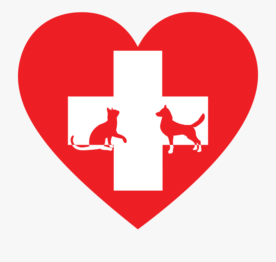 Free Clipart Of A Silhouetted Cat And Dog With A Red.