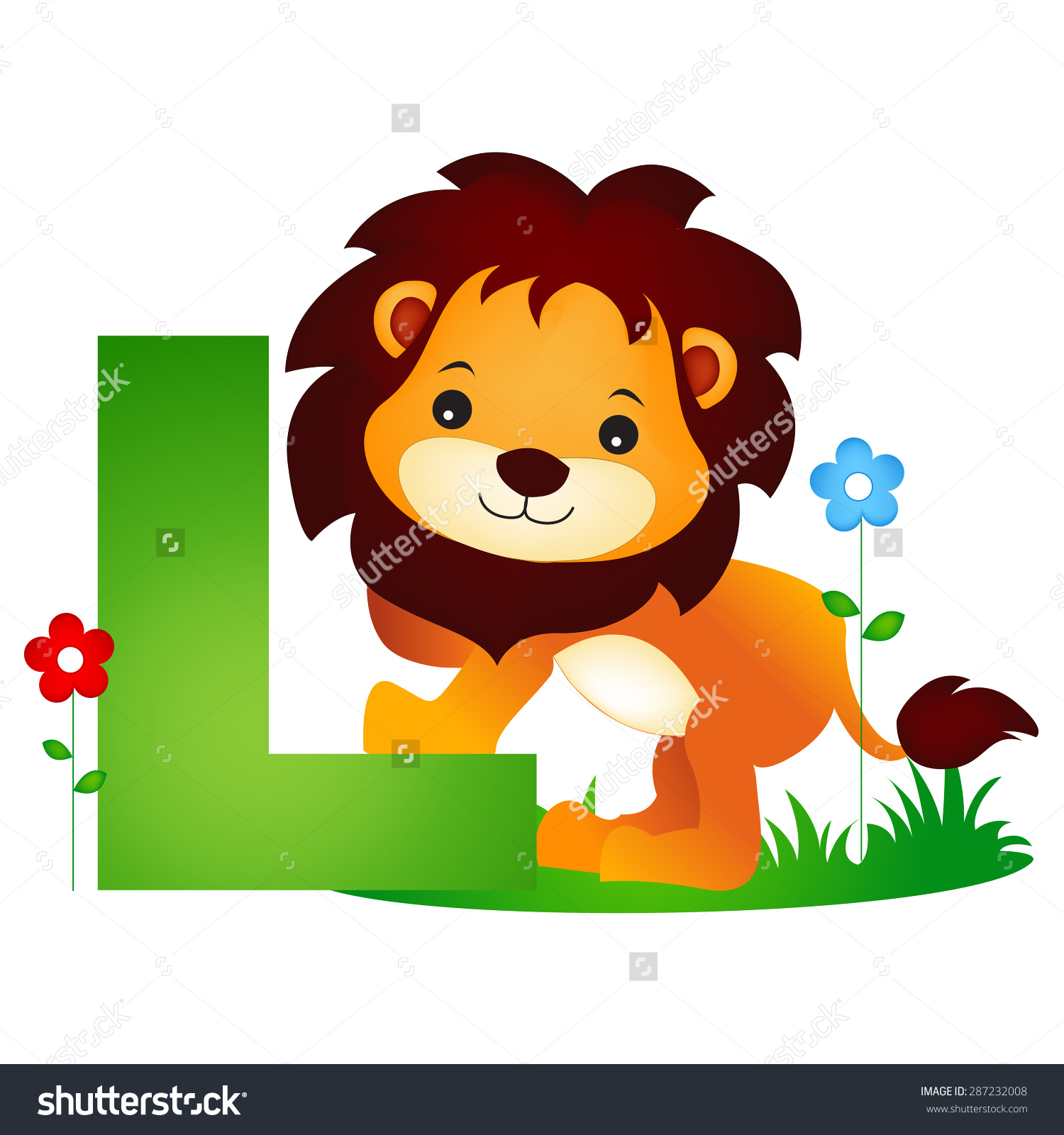 Colorful Animal Alphabet Letter L Cute Stock Vector 287232008.