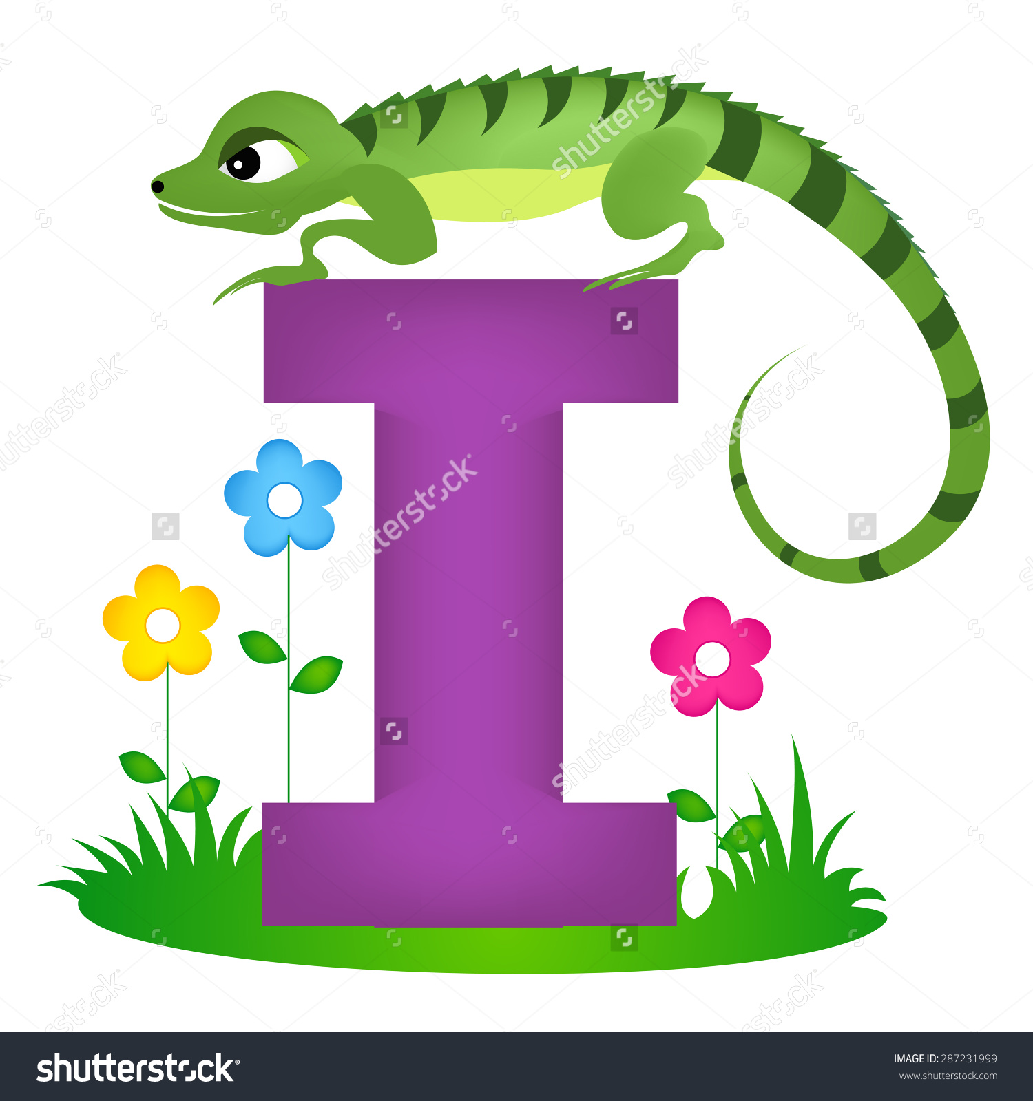 Colorful Animal Alphabet Letter Cute Iguana Stock Vector 287231999.