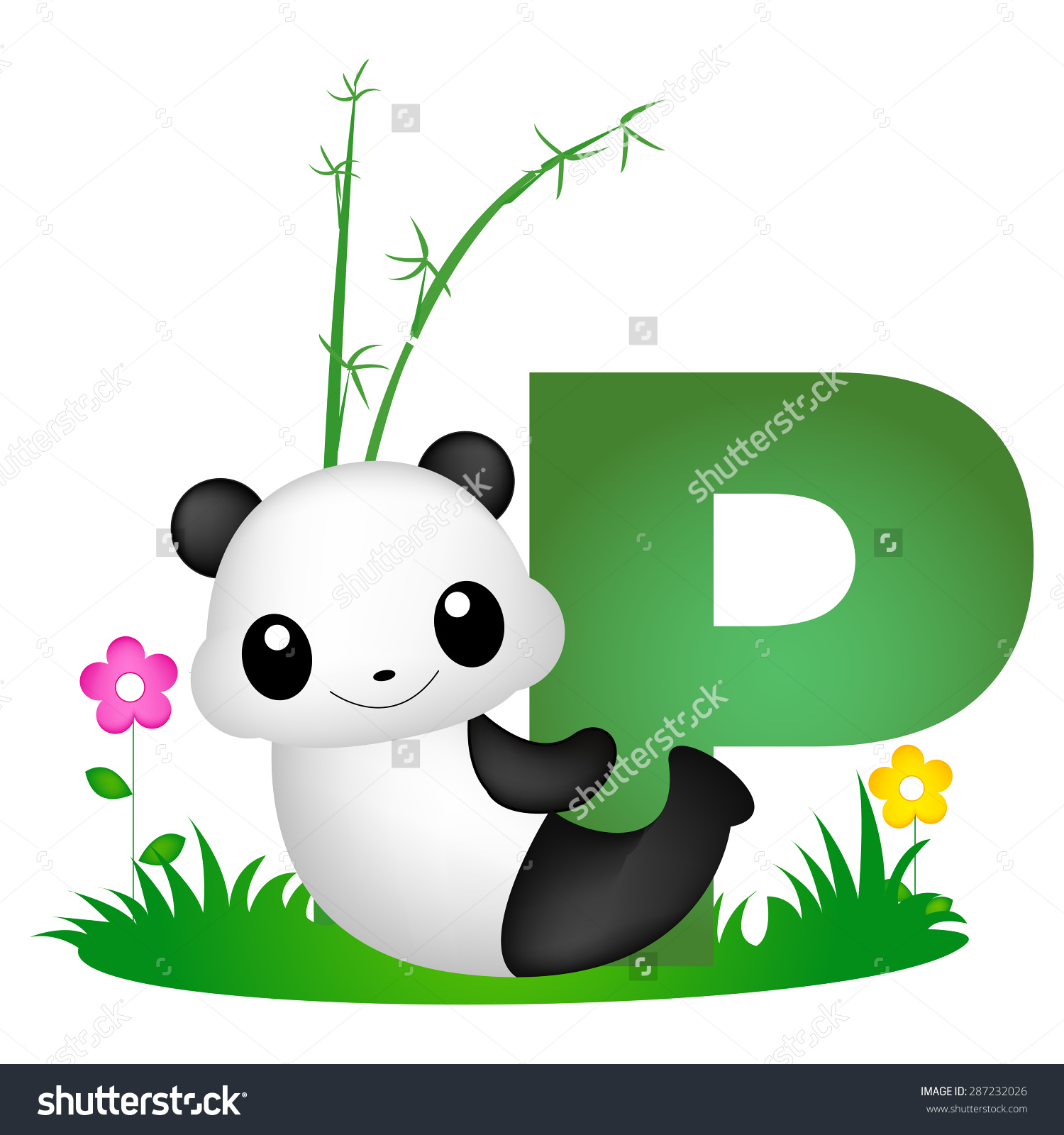 Colorful Animal Alphabet Letter P Cute Stock Vector 287232026.