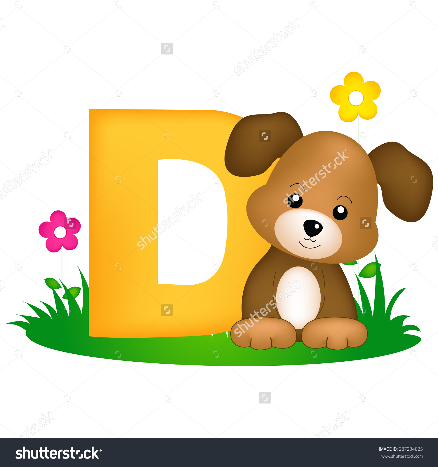 Colorful Animal Alphabet Letter D Cute Stock Vector 287234825.