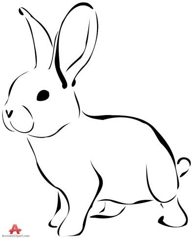 Bunny black and white animals clipart of bunny with the.