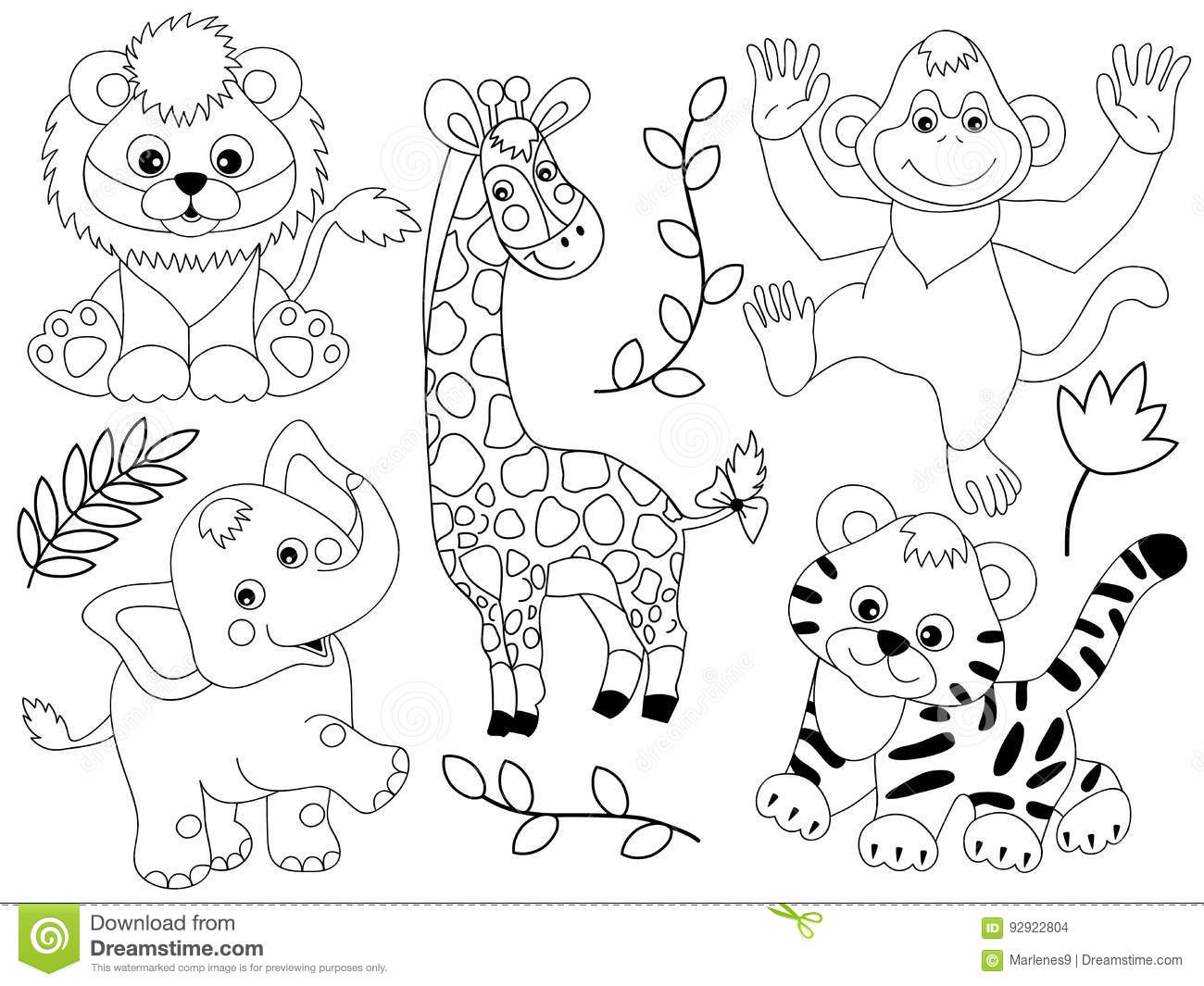 Black And White Baby Animal Clipart.
