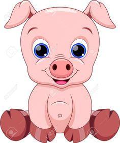 Cute Baby Pig Cartoon Royalty Free Cliparts, Vectors, And.