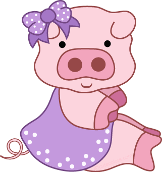 Free pig clipart from www.cutecolors.com.