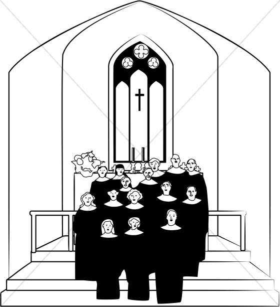 Church Choir Clipart in Black and White.