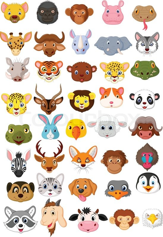 Cartoon animal head collection set.