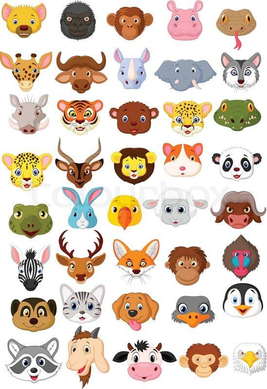 Cartoon animal head collection set.