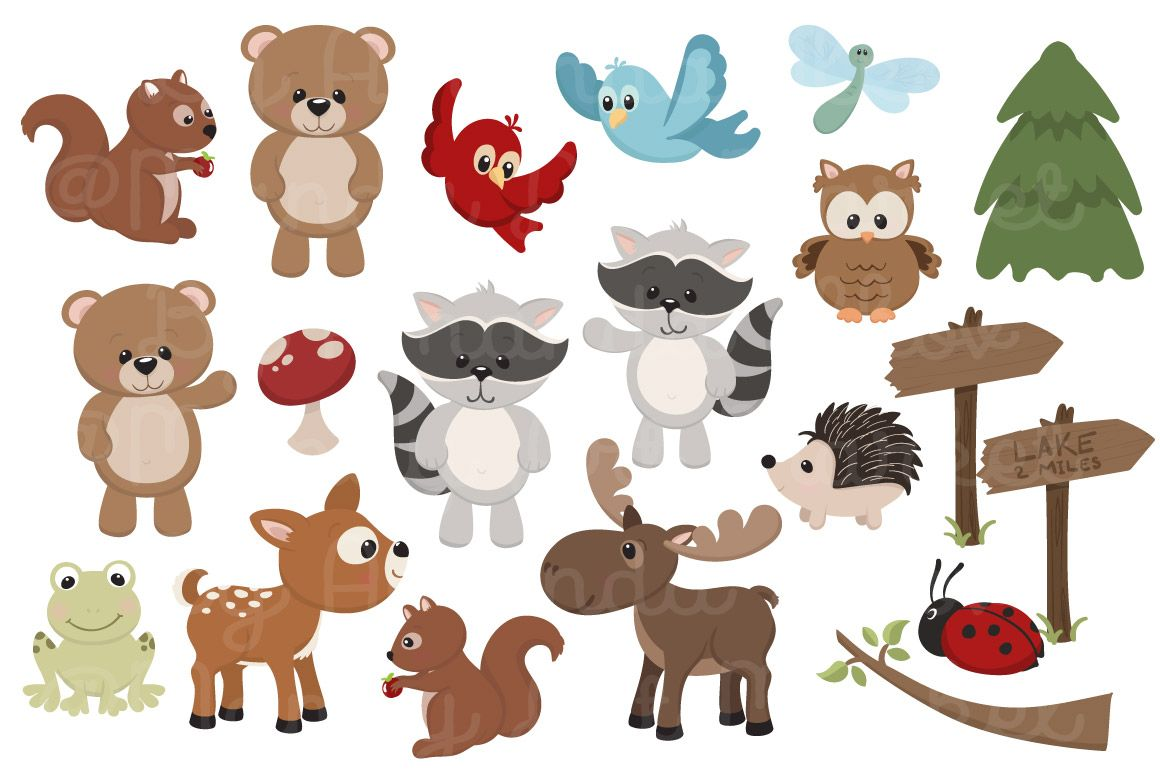 Adorable, Free Woodland Animals Clipart and Digital Papers.
