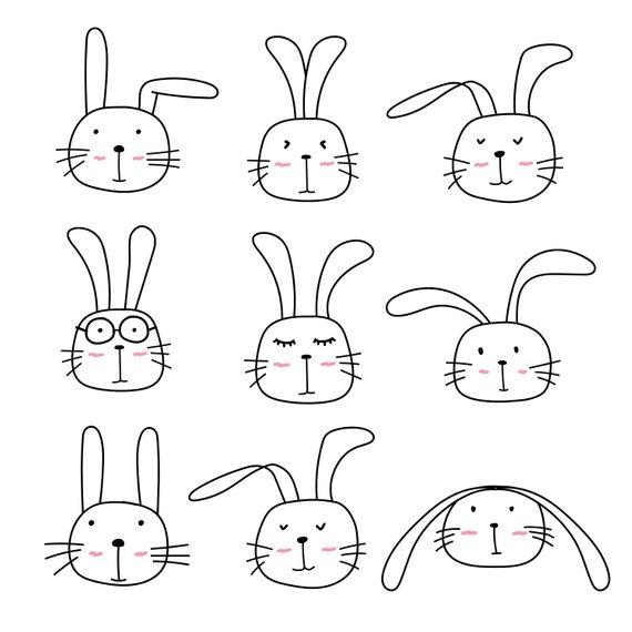 Cute Bunny Clipart, Cute Animal Clipart, Rabbit Clipart.