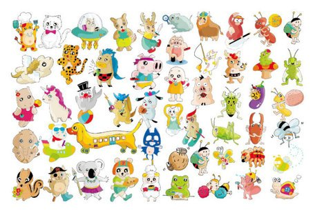Vector variety of cute animals Clipart Picture Free Download.