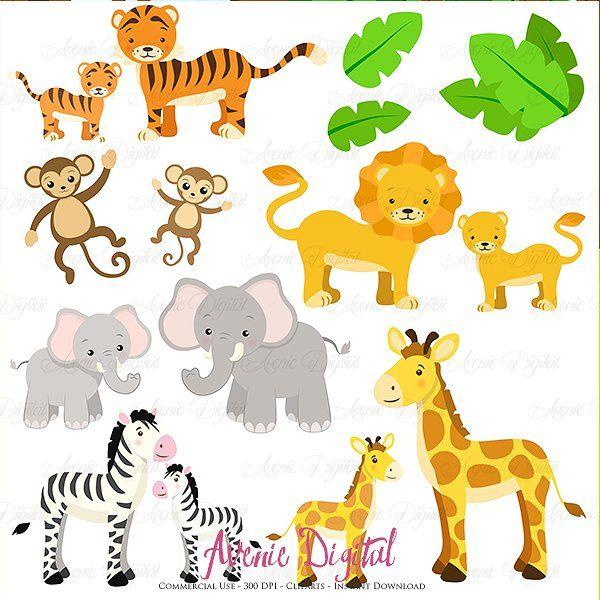 Cute Safari Animals Clipart Vector #Choice#Arts#invitations.