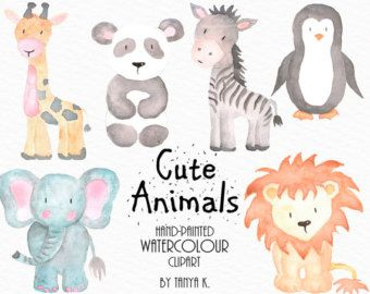Watercolor Animals Clipart, Commercial Use, Watercolor.