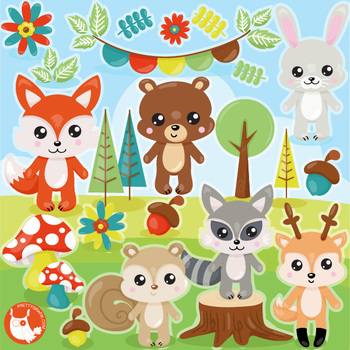 Sale Woodland animals clipart commercial use, vector graphics, digital.