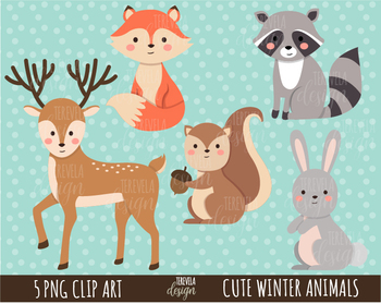 FOREST ANIMALS clipart, woodland graphics, commercial use, WINTER ANIMALS.