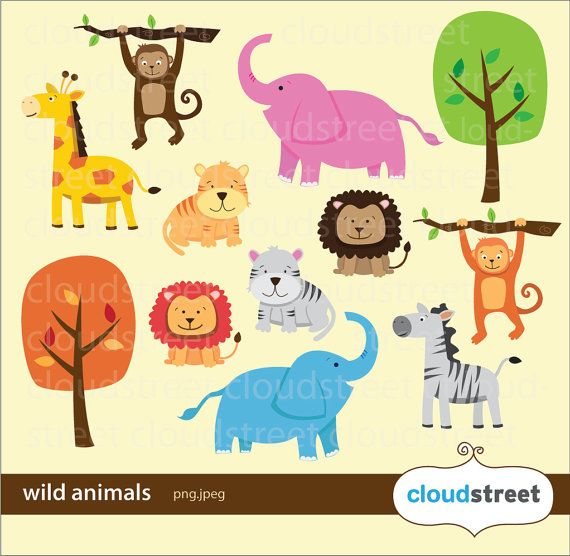 buy 2 get 1 free Wild Animals Clipart for personal and.