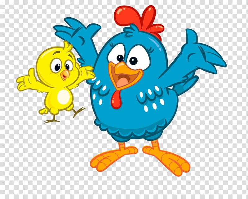 Blue rooster and yellow chick illustration, Chicken Galinha.