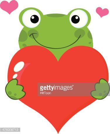 Cute Frog Holding A Heart Vector Art.