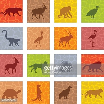 African Animal Icon Set Clipart Image.