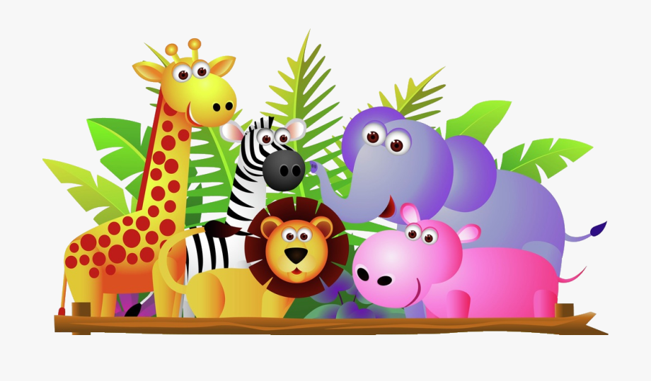 Giraffe Lion Zebra And Elephant Jungle Cartoon.