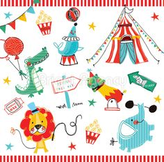 Circus Animals clipart pack.