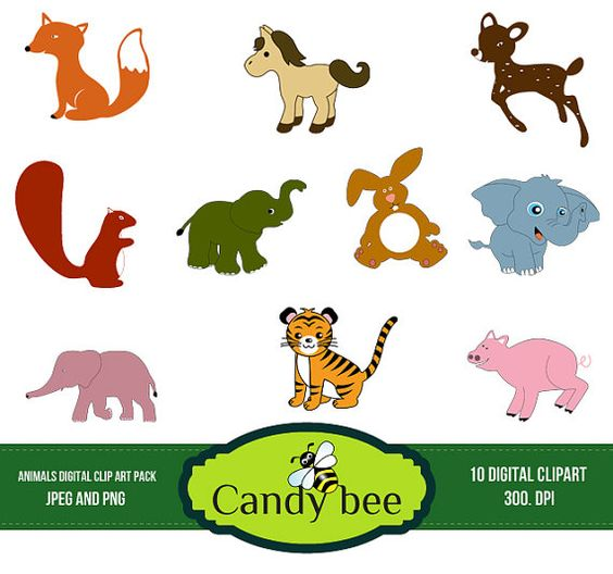 Cute Animal Clipart Digital clip art of baby animals, Fox Horse.