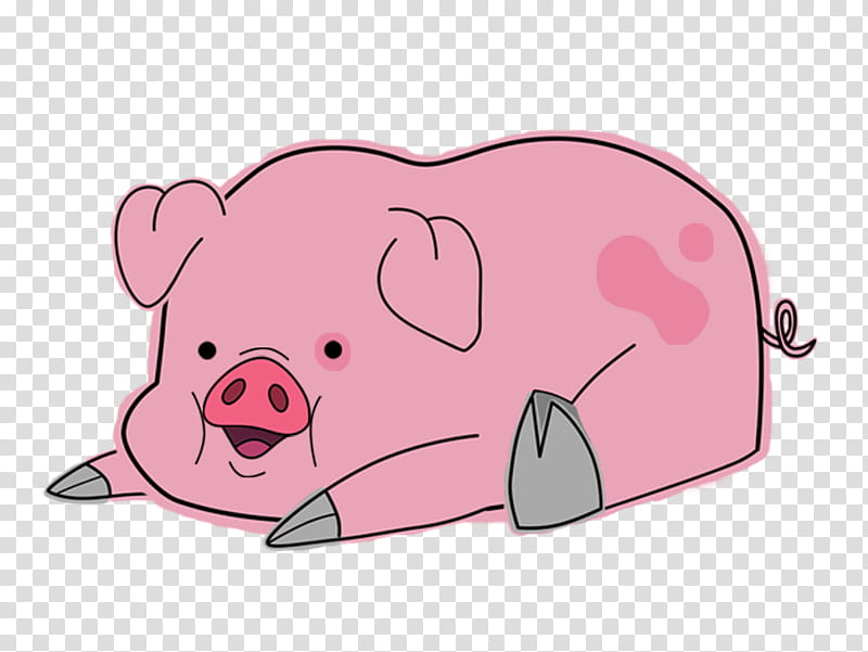 Waddles the pig Pato, pink and gray pig illustration.