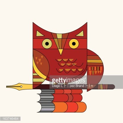 Owl, Pen and Books premium clipart.