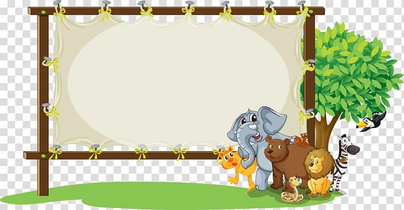 Group of animals illustration, , jungle frame transparent.