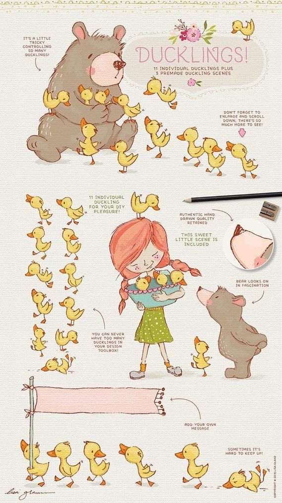 Spring Animal clipart set, bear clip art, cute mouse, girl.