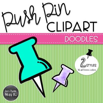 Doodle Push Pin Clipart.