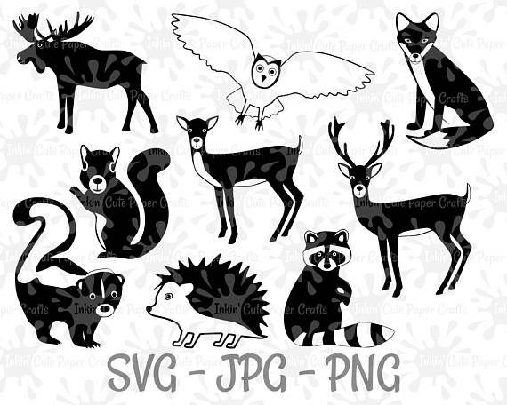 Woodland Clipart, Forest Animals SVG, Woodland Animals SVG.