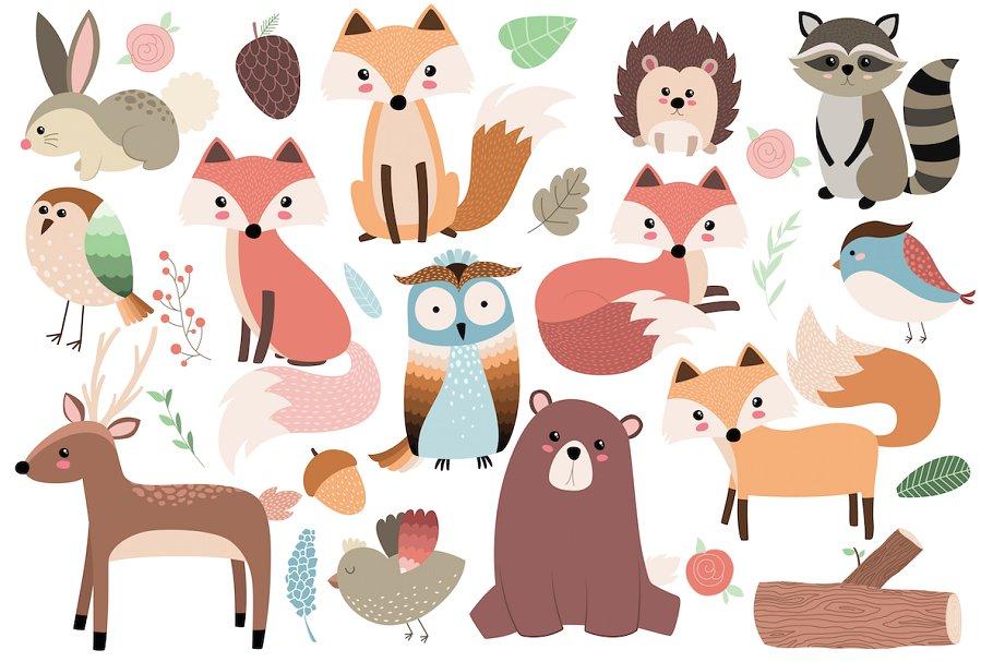 Woodland Forest Animals Clipart Set.