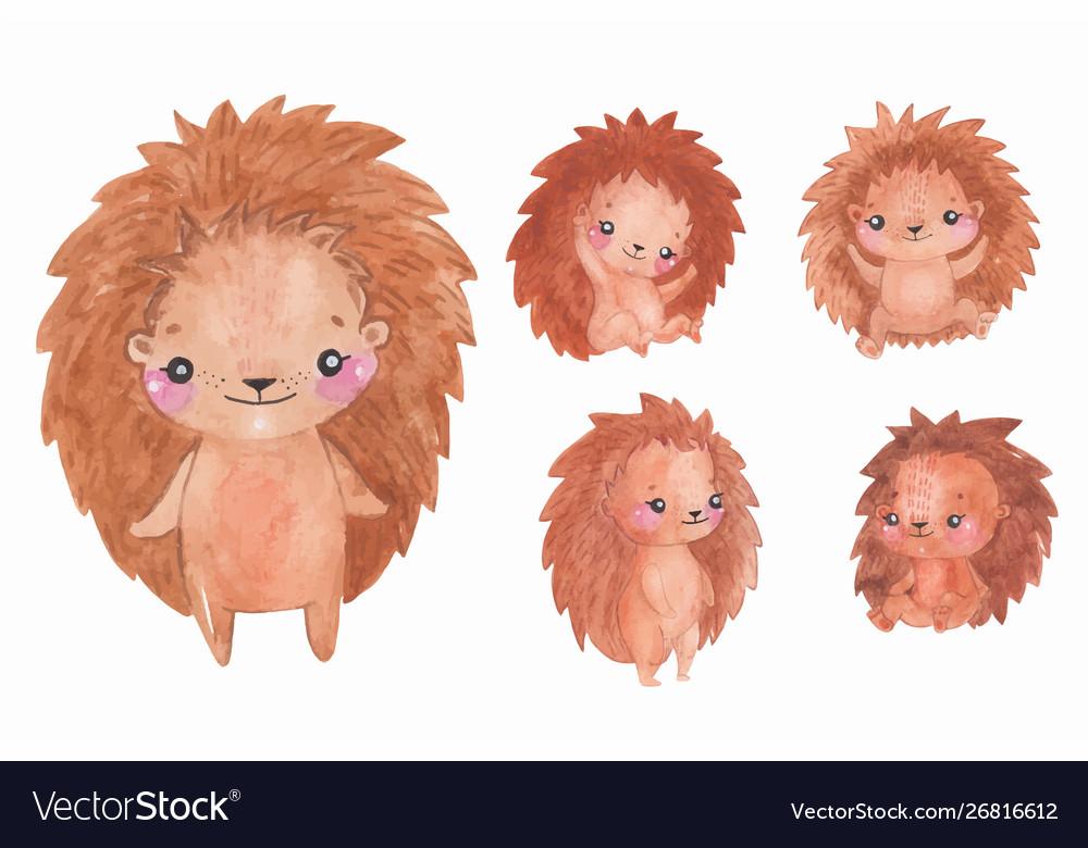 Watercolor hedgehogs set children animal clipart.