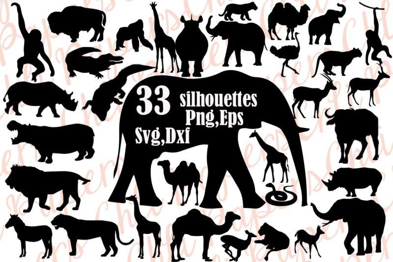 Safri Animals Silhouette Svg,SAFARI ANIMALS CLIPART,African.