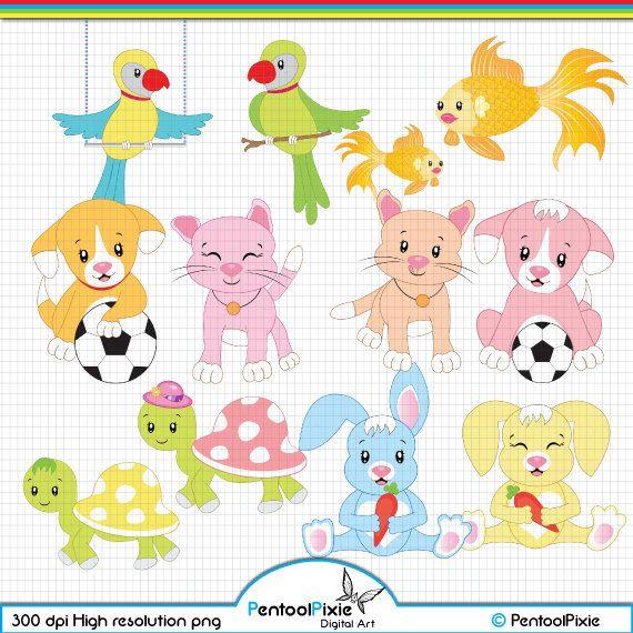 Pet Animals clipart, Pet animals clip art, Cute Pet animals.